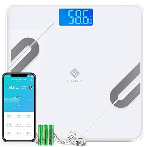Etekcity Körperfettwaage Bluetooth Ultraschlanke Waage, Smart Personenwaage Digital mit APP für BMI, Gewicht, Muskelmasse, Wasser, Protein, Knochengewicht, usw, iOS & Android, 180 kg / 400 lb / 28 st