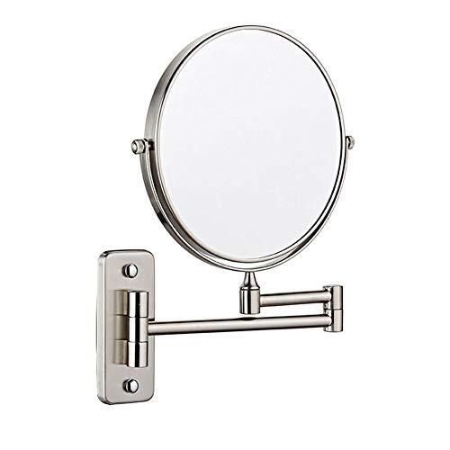 MRJ Kosmetikspiegel Wandmontage Normal+3 Fache 360° Schwenkbar aus Kristallglas, Edelstahl und Messing für Badezimmer, Kosmetikstudio, Spa und Hotel Silber Farbe