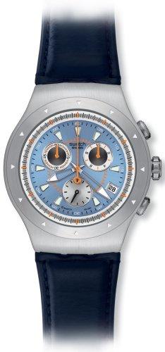 Swatch YOS421 - Orologio da polso da uomo, cinturino in pelle colore blu