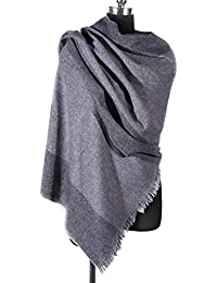 i+k Écharpe en cachemire et laine de mérinos - 100% laine Écharpe en Laine  Cachemire Hiver Pashmina Châle Pour… 49acf62f4b3