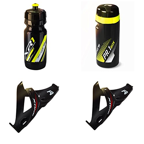 Raceone.it - KIT Race Trio X1 Matt (4 PCS): 2 Bottle Cage X1 + Bike Water Bottle XR1 + Toolbox PR1 - Wasserflaschenhalter Fahrrad Cycling/MTB/Gravel. Farbe: Schwarz/Gelb 100% Made IN Italy X1 Trio