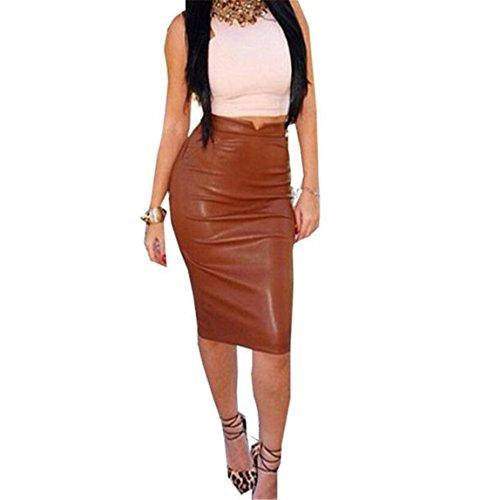 Vovotrade ❤❤2017Heiß !!!Lederner Frauen hoher Taillen Rock dünner Partei Bleistift Rock (L, (Roten Kleid Pretty Kostüm Woman)