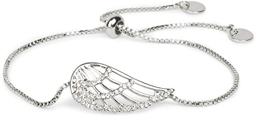 styleBREAKER Slider Armband mit Strass besetztem Flügel Anhänger, Venezianerkette, Schmuck, Damen 05040118, Farbe:Silber