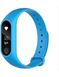 Pulsera inteligente,M2PULS,Fitness Tracker con Pulsómetros,Cronómetro,Gps para running,monitor de ritmo cardiac,Notificación de mensajes,Impermeable IP67,Monitor de Sueño Pulsera (Vital Blue)