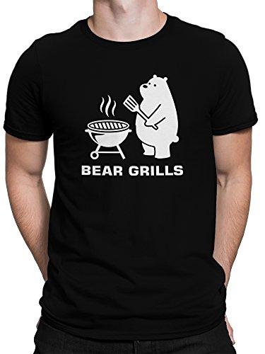 vanVerden Herren T-Shirt Bear Grills Barbecue Parodie Grillen Grillshirt, Größe:XXL, Farbe:Schwarz -