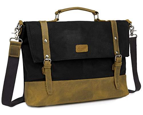 Leder Umhängetasche Herren, Kasgo Vintage Aktentasche Wasserabweisend Gewachstes Canvas Männer Schultertasche mit 15,6 Zoll Laptop Hülle Herrentasche Schwarz