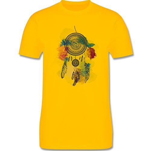 Festival - Traumfänger Wasserfarbe Dreamcatcher Watercolor - Herren Premium T-Shirt Gelb