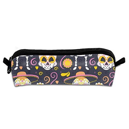 Pengyong Federmäppchen mit Halloween-Totenkopf-Motiv, mit Reißverschluss, kleine Kosmetiktasche, Make-up-Tasche, Münzbörse, für Kinder, Jugendliche und andere Schulutensilien