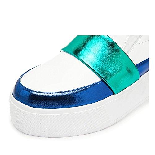 Shenn Donne 2016 Moda Piattaforma Scivolare Su Pelle Addestratore Scarpe 1601 Bianca&Blu