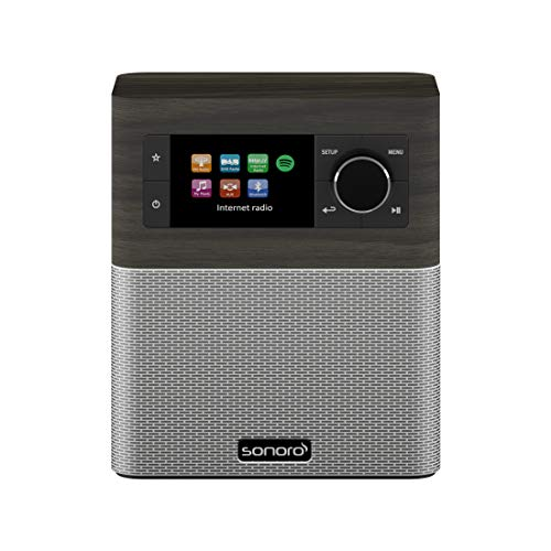 sonoro Stream Küchenradio (FM/DAB/DAB+/WLAN, AUX-in, Bluetooth, Spotify Connect) Mooreiche/Silber -...