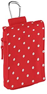 Trendz Universal Protective Case Cover Pouch with Zip and Carabineer for Smartphones, iPhones, iPods, MP3 Devices, and Cameras - Red Polka Dot