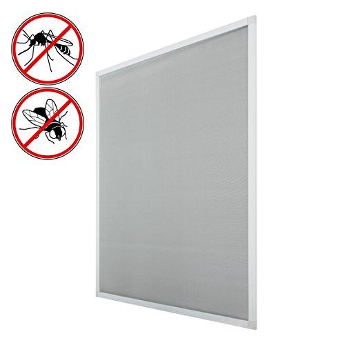 ECD Germany 2-er Pack Fliegengitter mit Rahmen aus Aluminium - wetterfestes Moskitonetz aus Fiberglasgewebe für Fenster - 130x150 - weiß/Anthrazit