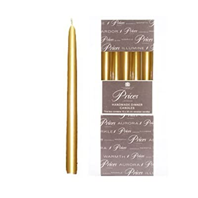 Prices 10 inch Metallic Gold Dinner Candles, 10 Pack, Individually Wrapped by Price's Candles
