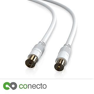 conecto HQ TV Antennenkabel Anschlusskabel - für DVB-C, DVB-T/T2 - 4K UHD 1080p FULL HD HDTV 3D - (Koaxialkabel, TV-Stecker - TV-Buchse, doppelte Schirmung, vergoldete Stecker) weiß 10,0m