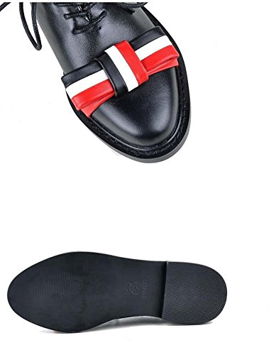 NobS Bow Lace-Up Leather Bassi Tacco Donne Scarpe Casual Scarpe Punta Smussata Shoes Black