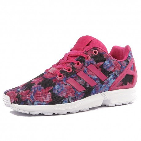 Adidas zx flux j, scarpe da ginnastica basse unisex-bambini, multicolore (bopink/bopink/ftwwht), 36 eu
