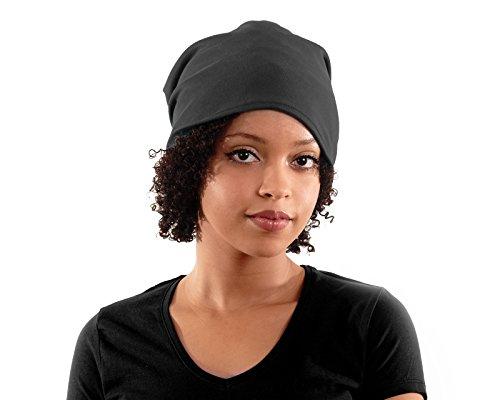 Jersey Satin gefüttert Slouchy Beanie dark grau und silber Satin, grau, Adult size 22' (56cm) around the head