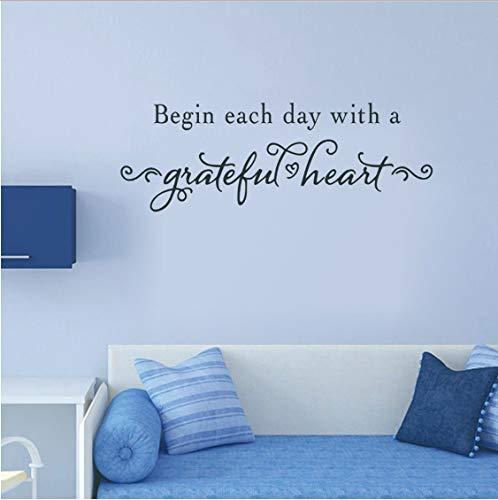 Beginnen Sie jeden Tag mit einem dankbaren Herz Leben Wandaufkleber für Kinderzimmer Dekorationen Vinyl Wallpaper Decals Home Decor