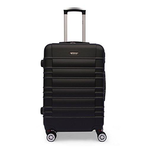 Shaik ® Serie CLASSIC JFK Design Hartschalen Trolley, Koffer, Reisekoffer, in 3 Größen M / L / XL / Set 40/78/124 Liter, 4 Doppelrollen Zwillingsrollen, Zahlenschloss (Mittelgroßer Koffer, Schwarz)