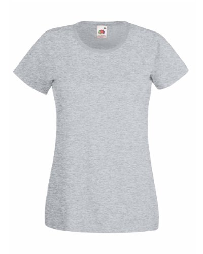 Fruit Of The Loom Lady-Fit Valueweight Damen T-Shirt (S) (Grau) S,Grau (Grau S/s T-shirt)