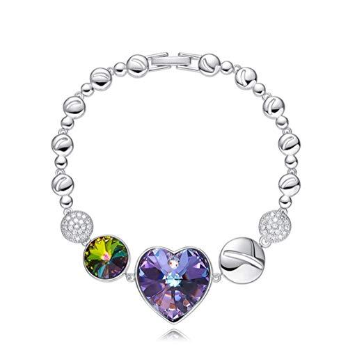 L&H Damen Love Heart Shaped Tennis Kette Armband Swarovski Elements Kristall Schmuck Geschenke,Purple