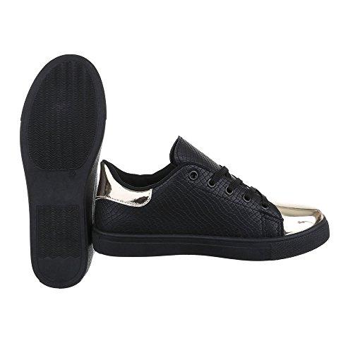Low-Top Sneaker Damen Schuhe Low-Top Sneaker Schnürsenkel Ital-Design Freizeitschuhe Schwarz