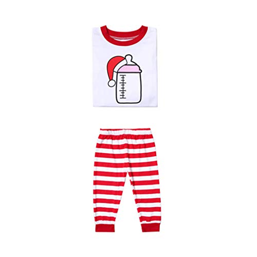 WEIMEITE Frauen Männer Eltern-Kind-Familie passenden Weihnachten Pyjamas Santa Hut Print Streifen Nachtwäsche Set Kind 80