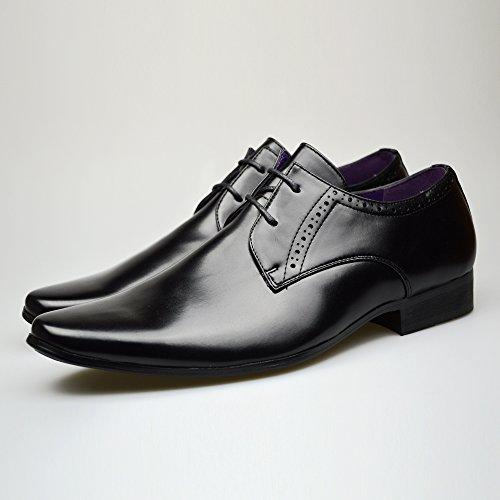 Moda Hombre Nuevo Zapatos Negros De Piel Formal Elegante Vestido talla UK 6 7 8 9 10 11 - Negro, hombre, 9 UK / 43 EU