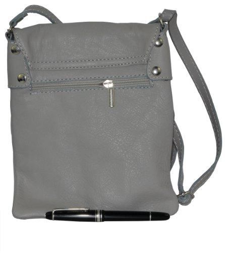 Italiano in morbida pelle, piccole e medie Messenger croce corpo o spalla borsetta.Include una custodia protettiva marca. Grigio (Grigio)