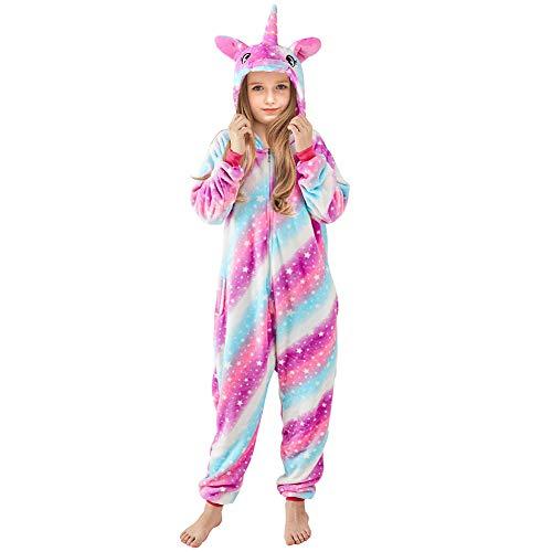 Gemütliche Einhorn Kostüm - Beinou Einhorn Strampler Pyjamas Flanell Cartoon Kostüm Jumpsuit Nachtwäsche Kinder Schlafanzug Erwachsene Unisex Fasching Cosplay Karneval