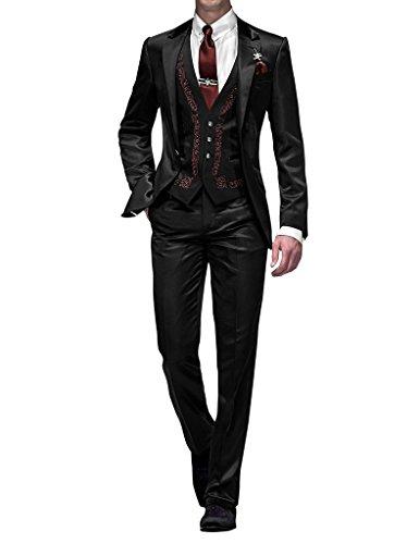 Suit Me Slim Fit coupe les hommes un bouton 3 Pi¨¨ces Pour veste de costume Weddings partie, gilet, pantalon de costume Nior avec coutures rouges