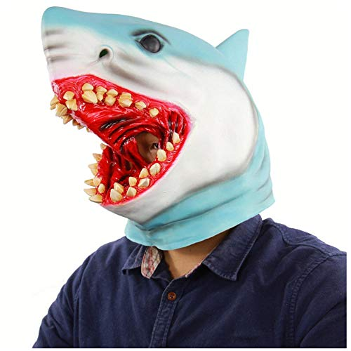 Kostüm Themen Ozean - qiaoaoa Latex Tier Maske Kostüm Zubehör Neuheit Halloween Party Kopf Maske Shark MaskScary Kostümfest Ozean Fisch Cosplay Maske