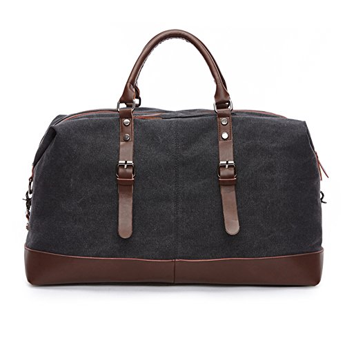 WOMJIA Reisetsache Sporttasche Weekender Tasche Handgepäck aus Canvas Segeltuch Vintage 35 Liter Blau Schwarz