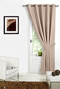"BEIGE 66"" Width x 84"" Drop , Supersoft Thermal Blackout DOOR EYELET / RING TOP Curtain 'Winter Warm but Summer Cool' by VICEROY BEDDING"