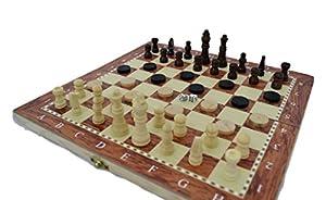 Shine 3en 1de Madera Natural Plegable ajedrez/Damas/Backgammon Juego con Staunton Piezas 34x 34cm