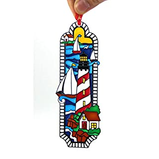 ACEVER Bookmark with Hand Paint on Art Glass Lighthouse