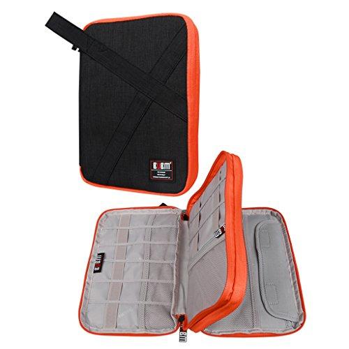BUBM organizador de Gadgets, de viaje, doble capas, bolsa de accesorios electrónicos/cargador de batería, Funda para iPad Mini y tablet con asa negro Mediano