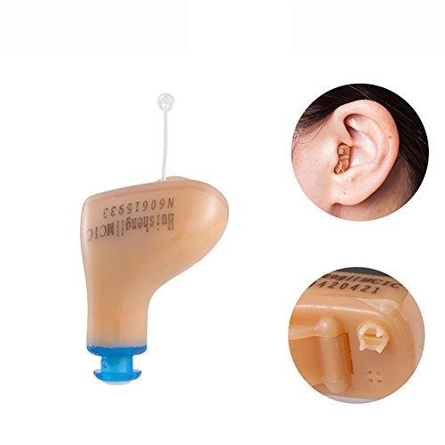 Hörverstärker MCIC Canal, unsichtbar, Super Mini, einstellbar, Voice-Verstärker, kleine einstellbare Ton Hörgeräte Hilfe , Blue(left)
