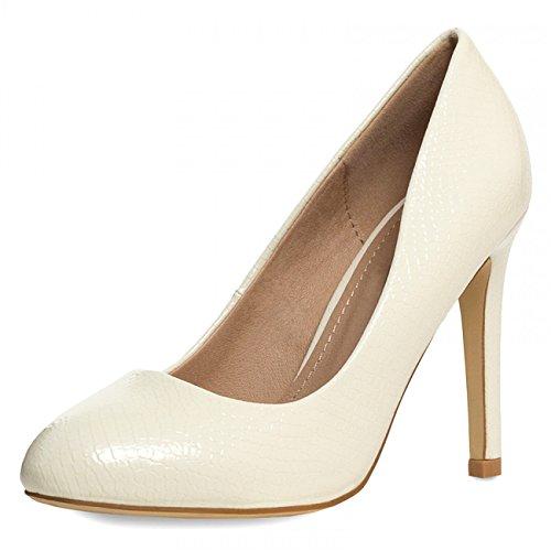 CASPAR Damen Klassische High Heels / Pumps mit hohem Absatz und Schlangenleder Optik - viele Farben - SBU010, Farbe:creme weiss;Größe:EU41/US9.5