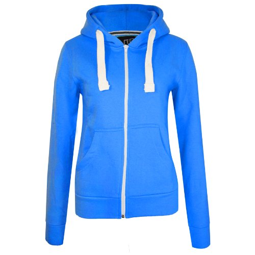 Unisex Ladies New Plain Casual Long Sleeve Pocket Hoody Top Womens Fixed Hood Stretch Front Zip Contrast Drawstring Detail Basic Hooded Jacket WOMENS PLAIN HOODIE LADIES HOODED ZIP ZIPPER TOP SWEAT SHIRT JACKET COAT SWEATER (UK 10 MEDIUM, ROYAL)