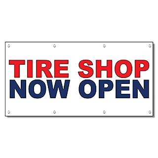 Tire, Shop jetzt offen rot blau Auto Repair Shop Vinyl Banner Schild/W Tüllen 2 Ft X 4 Ft