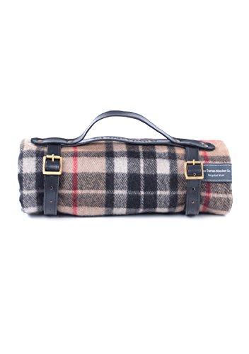 The Tartan Blanket Co. Recycelte Wolle Picknickdecke mit schwarzem Lederarmband (Thomson Camel) -