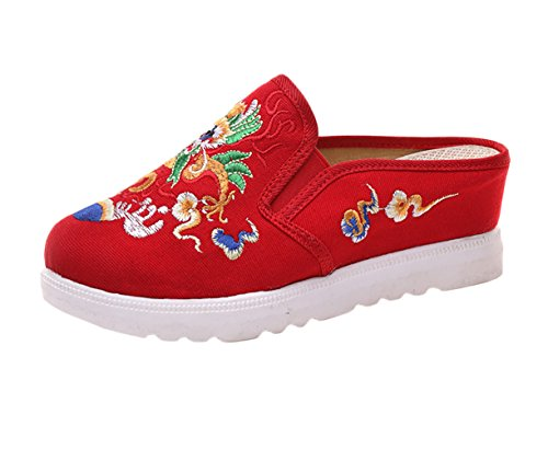 Insun Damen Espadrilles Slipper Flats Schuhe Pumps Mit Keilabsatz Handgemachte Gestickte Freizeitschuhe Rot