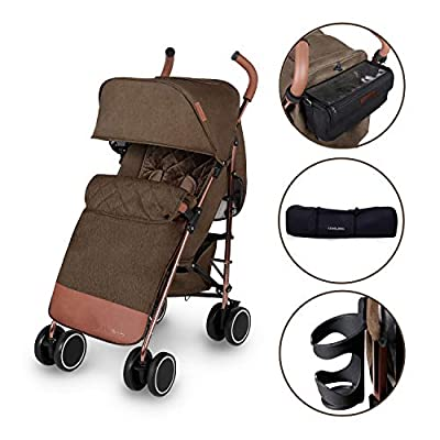 Ickle Bubba Baby Strollers | Lightweight Stroller Pushchair | Compact Fold Technology for Easy Transport and Storage | UPF 50+ Extendable Hood | Discovery Prime, Khaki/Rose Gold