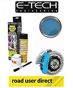 E-Tech Pinza de freno pintura–cielo azul–completo Kit Inc cepillo y limpiador de pintura/