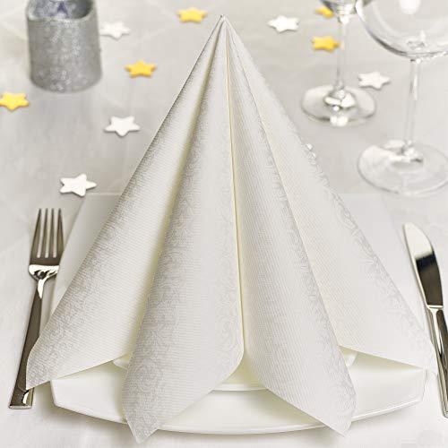 GRUBly Servietten Hochzeit Weiss | Stoffähnlich [100 Stück] | Hochwertige Hochzeitsservietten, Weisse Tischdekoration für Geburtstag, Feiern, Weihnachten | 40x40cm | AIRLAID QUALITÄT