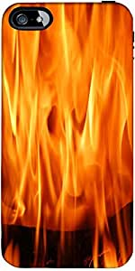 Snoogg Orange Flames Burning Designer Case Cover For Apple Iphone 5 / 5S