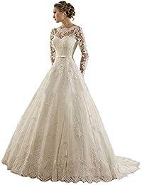 Vestido de novia de Encaje de Las Mujeres, Apliques de Manga Larga cinturón de una