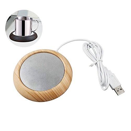 Scaldino per tazza da caffè, scaldino per scaldavivande USB, scaldabagno elettrico per tè Umiwe con piastra in alluminio per la casa dell'ufficio (Light Walnut Wood)