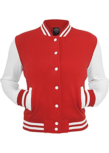 TB218 Ladies 2-tone College Sweatjacket Red/Wht